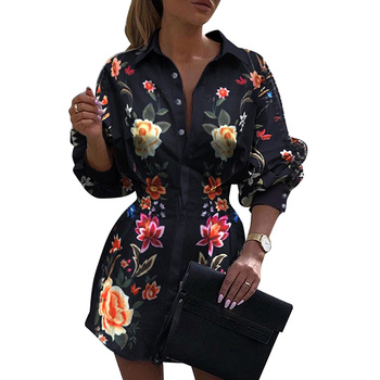 2020 Women Elegant Floral Printed Turn-down Collar Shirt Female Fashion Autumn Lantern Sleeve Button Decor Blouse Top D30 lantern sleeve striped button front blouse