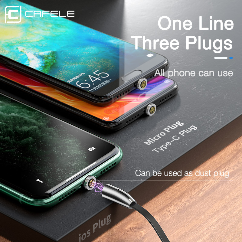 Cafele Luxury Magnetic Charging USB Cable for iPhone Type C Micro Retractable Charger Cable 120cm 3A