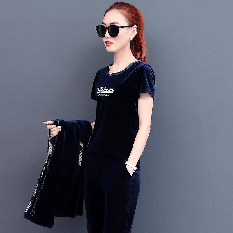 Velvet Tracksuit For Women Outfits Velour Suit Long Jacket And Hoodies Tops And Sweat Pants 3 2 Piece Set Black Winter Clothing