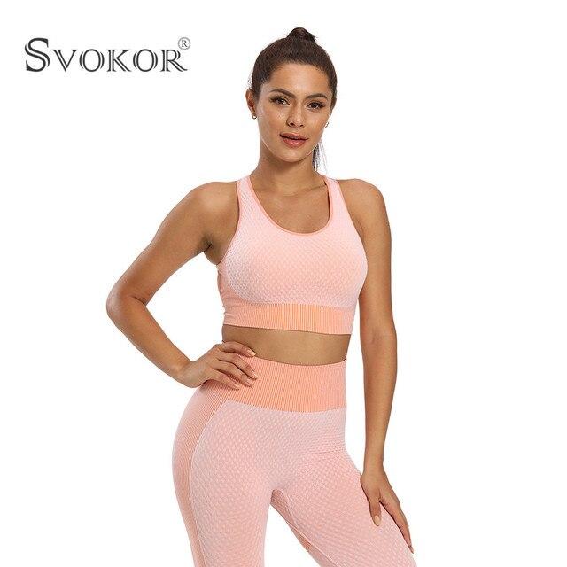 SVOKOR Spring Seamless Workout Leggings Sets Women High Waist Push Up Perfect Fit Leggings Print Gym New 2