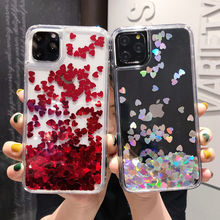 Glitter Love Heart cekiny Quicksand etui na telefon dla iPhone 12 11Pro Max XR XS Max X 8 7 6S Plus dynamiczny płynny futerał na 11 11Pro tanie tanio Ranipobo CN (pochodzenie) Aneks Skrzynki Bling Love Heart Sequins Quicksand Phone Case Apple iphone ów Iphone 6 Iphone 6 plus