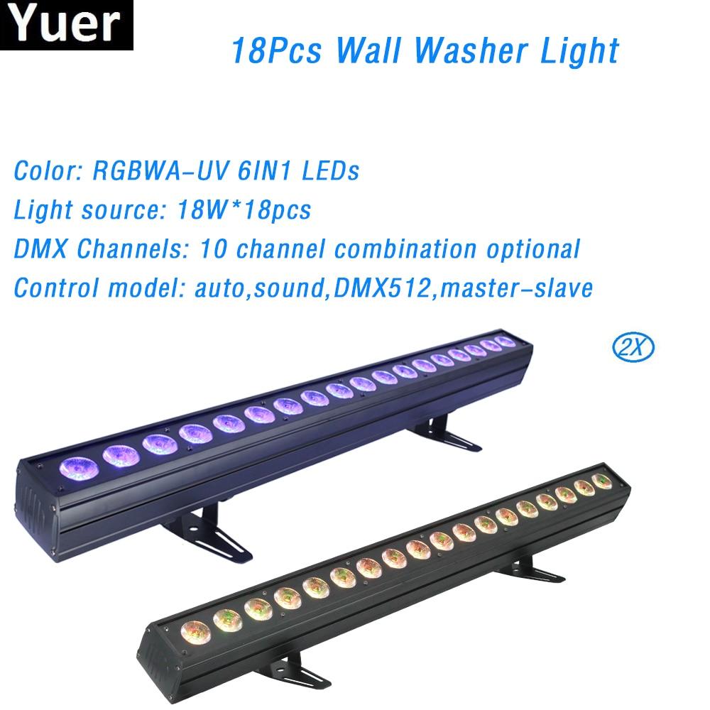 2Pcs/Lot Voice Control AC100-220V Club Dancing Party Lights 6in1 Bar Effect Lighting DJ Disco  Wall Washer Light DMX Control