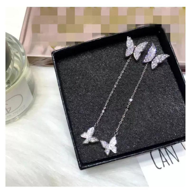 925 Sterling Silver Earrings For Women Dazzling Micro CZ Zircon Butterfly Tassel Earrings Oorbellen S-E559