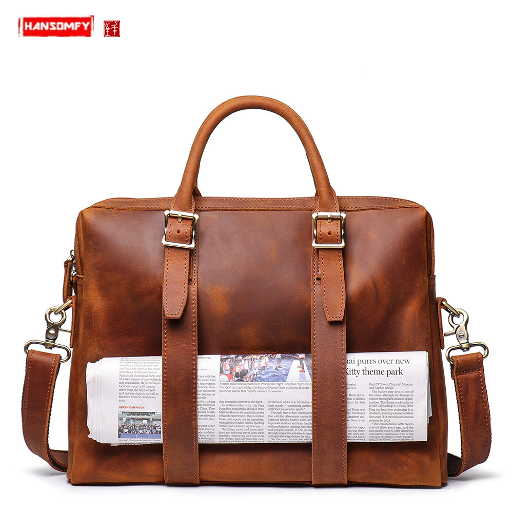 Men's Crazy Horse Leather Tote Bag Men Handbag Large Capacity Computer Bags Male Travel  Bag Leather Shoulder Diagonal Briefcase
