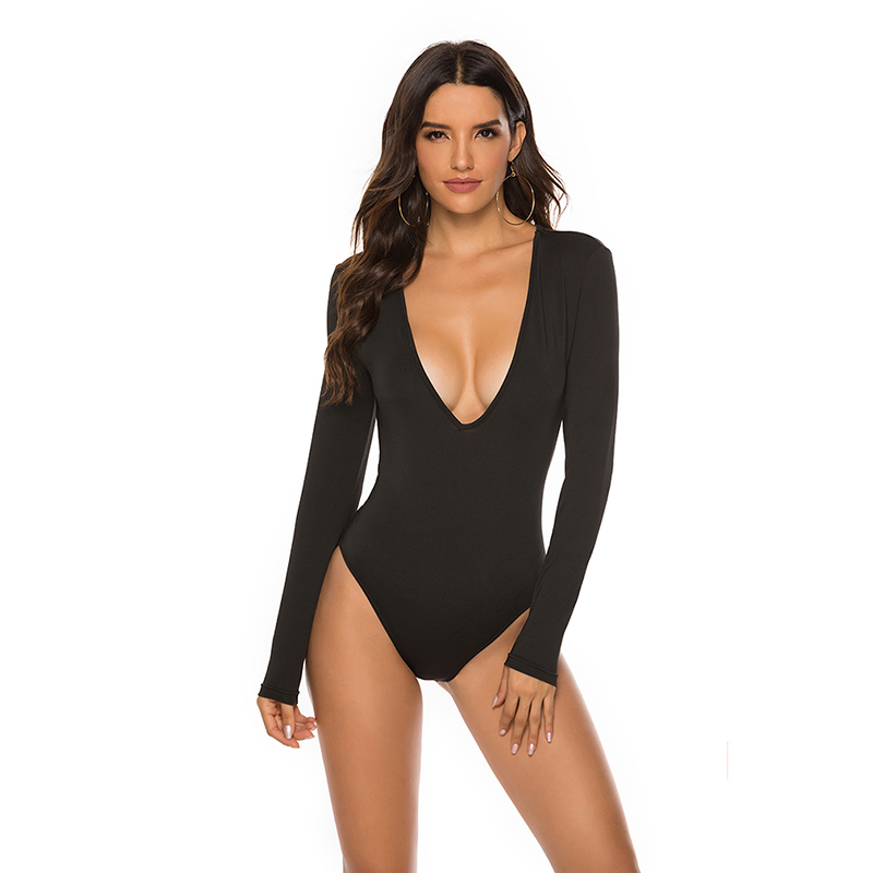 Fashion Sexy Women Solid Long Sleeved Bodysuits Wine Red Black Casual Skinny Summer V-neck Sexy Bodysuits