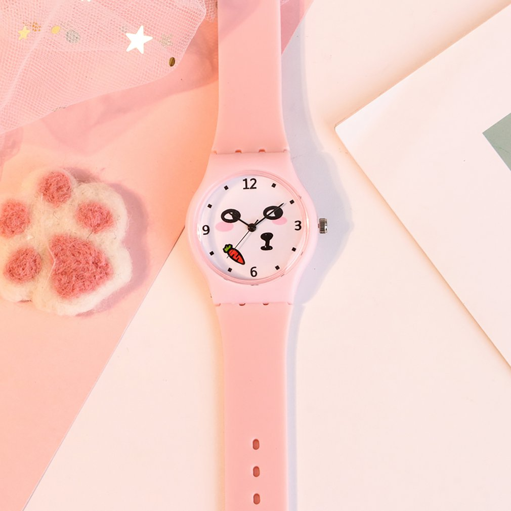 White Funny Face Shape Dial Transparent Silicone Candy Color Strap Band Quartz Wrist Watch For Children Girls Valentine GIFTS