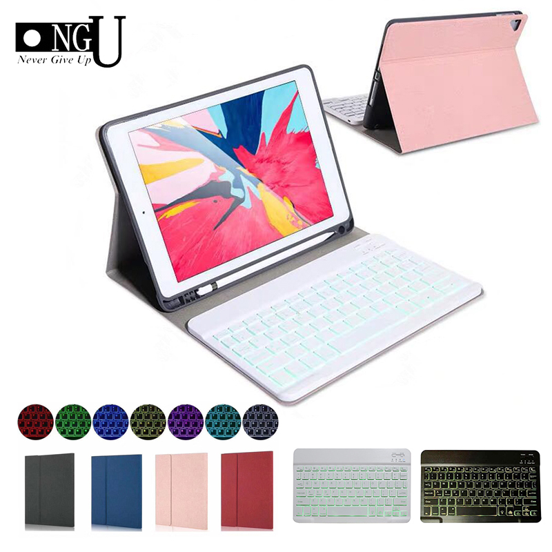 Keyboard Case For IPad 10.2 2019 With Pencil Holder Cover For Apple IPad 7th Generation A2200 A2198 Wireless Backlit Keyboard