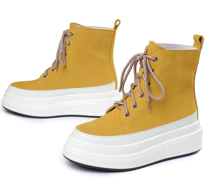 YEELOCA 2020 Shoes Women Cow Leather Wedges Fashion Sneakers Round Toe Platform Trainers KZ0678