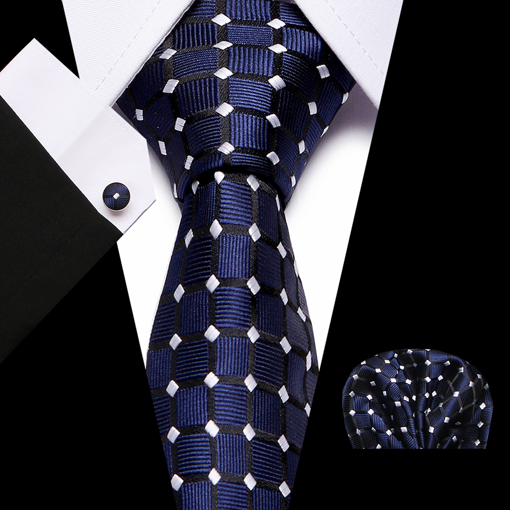 Luxury 7.5 Cm 100% Slik Blue Stripe Dot Tie Clip Handkerchief Cuffink Necktie Set Wedding Formal Dress Accessories Mens Tie Gift