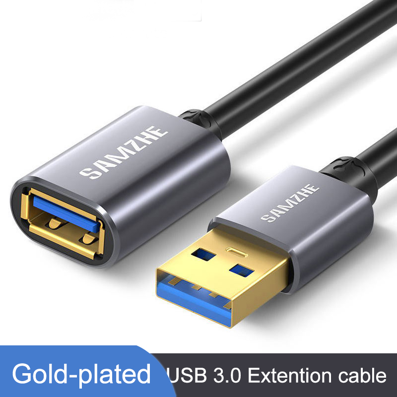 SAMZHE USB 3.0/2.0 Extension Cable Flat Extend Cable AM/AF 0.5m/1m/1.5m/2m/3m For PC TV PS4 Computer Laptop Extender