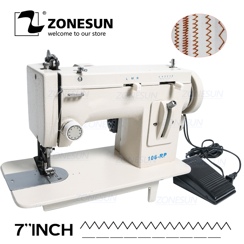 ZONESUN 106-RP Household Sewing Machine Fur Leather Fell Clothes Thick Sewing Tool Thick Fabric Material Reverse ZIG ZAG Stitch machine tool