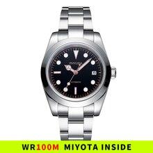 Montre WR Vintage pour hommes, 100M, 39mm, mouvement Miyota, mécanique, automatique, cadran noir, Date polie