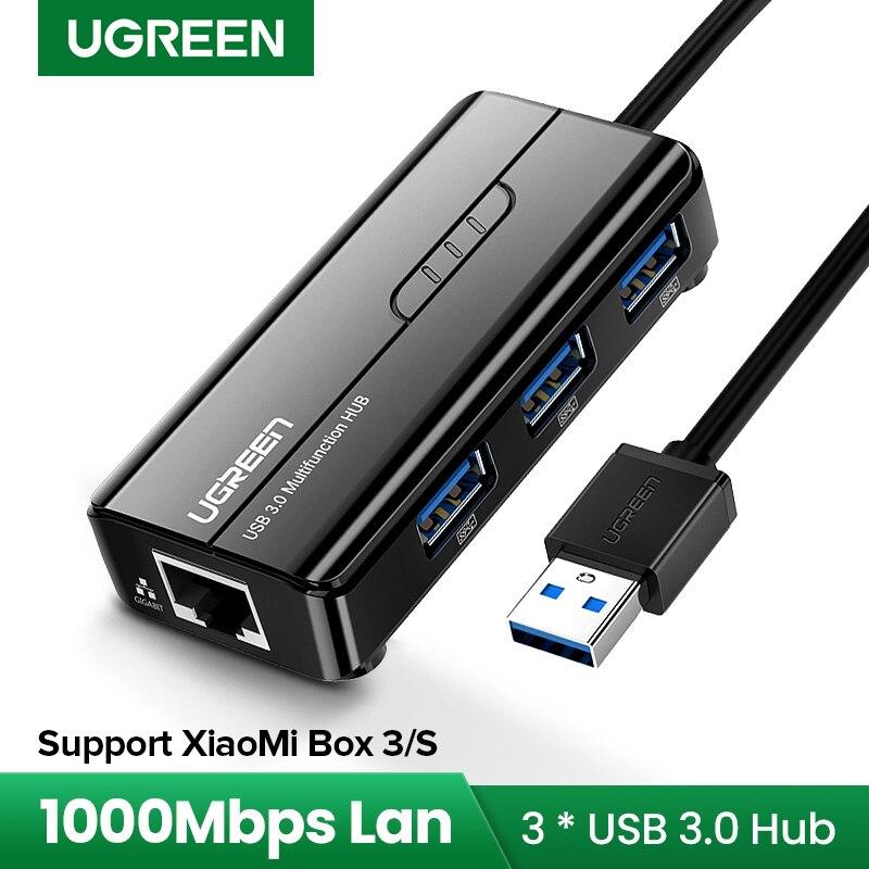 Ugreen USB Ethernet USB 3,0 2,0 к RJ45 USB концентратор для Xiaomi Mi Box 3/S телеприставка Ethernet адаптер Сетевая карта USB Lan