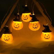 Halloween LED Stringed Light 10/16/20LED Lights Battery Powered Pumpkin Lamp Hanging Home Decor