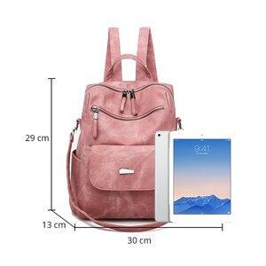 Image 2 - Leather Backpack Women Shoulder Bag Vintage Bagpack Travel Backpacks For School Teenagers Girls Back Pack Women Mochila Feminina