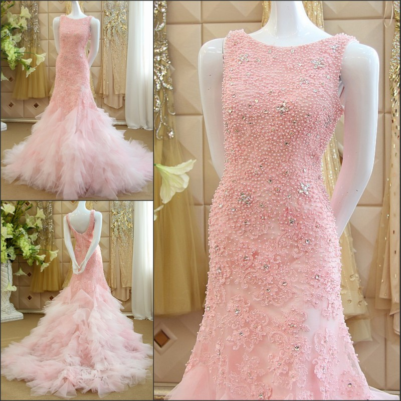Vestido De Festa Pearls Pink Tulle Lace Appliques Mermaid Long Prom Dresses 2015 Sexy Backless Louisvuigon Woman Evening Dress