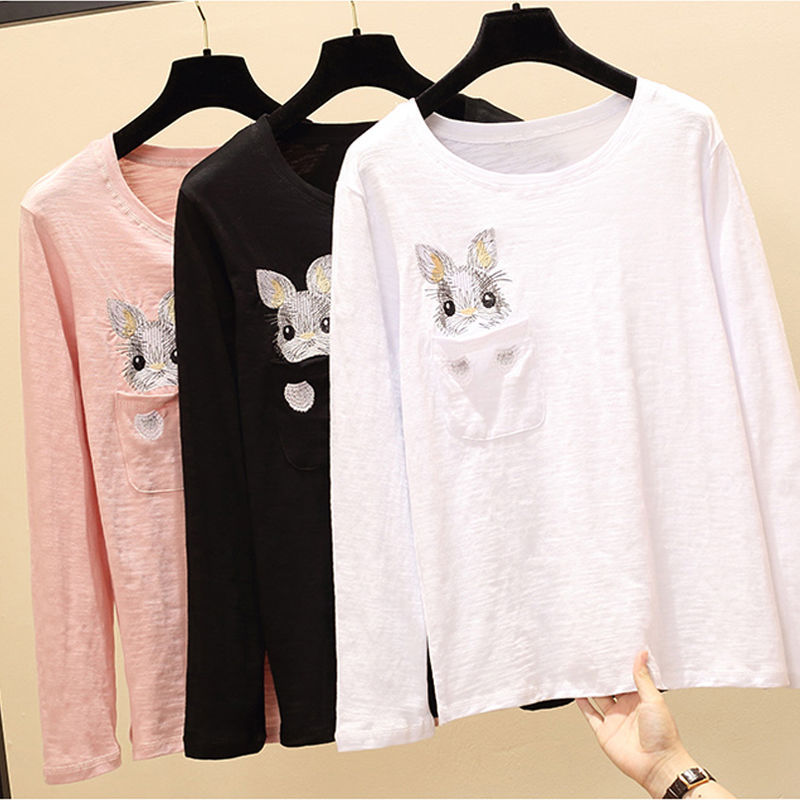 <font><b>Cotton</b></font> 2019 Autumn New <font><b>Women</b></font> Loose Joker Long Sleeve T-shirt Rabbit Pocket Embroidery Shirt Fashion <font><b>Tshirt</b></font> Casual Tops Shirts image