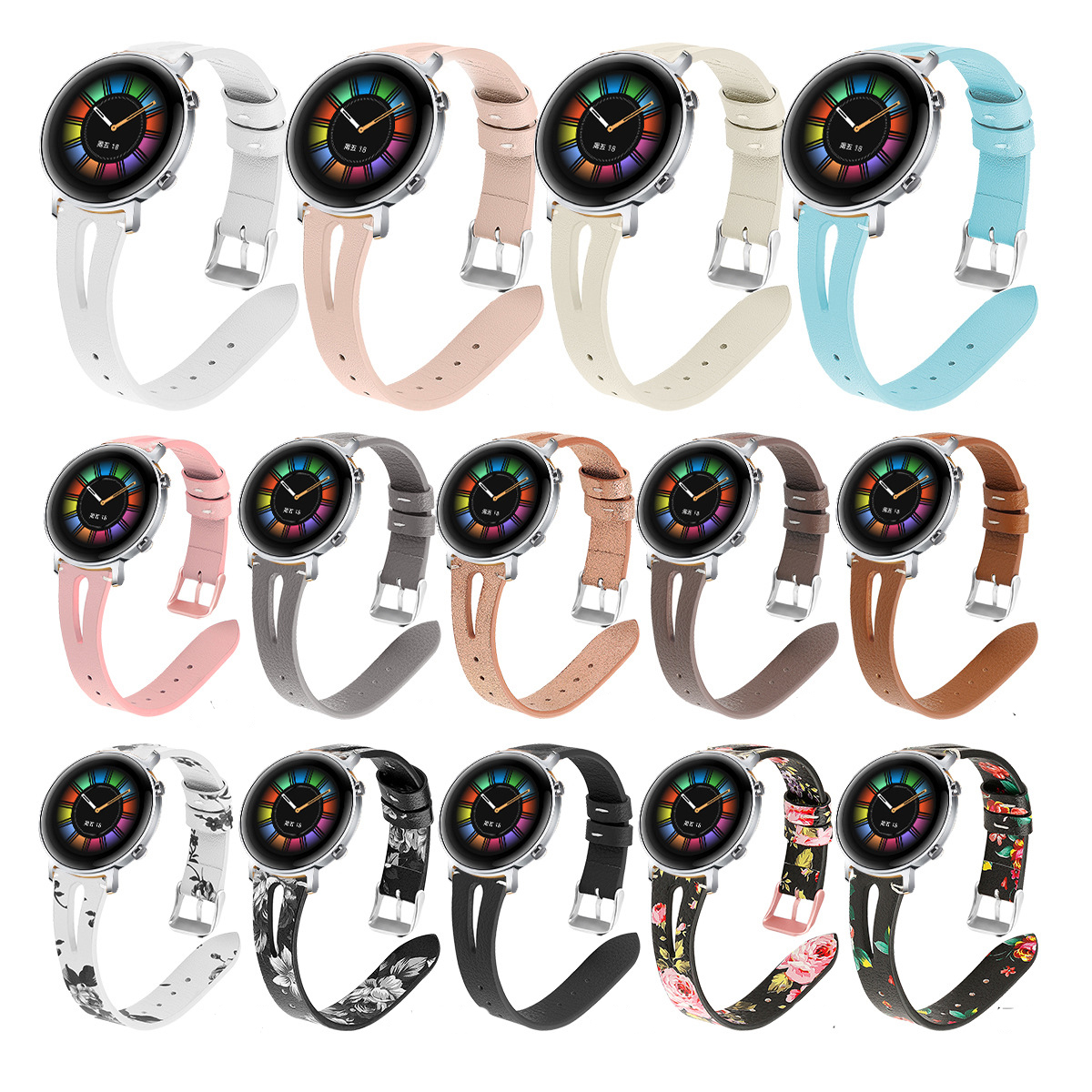 Leather Straps For Huawei Watch GT/GT2 Watch Band 20mm 22mm Watch Strap For Sumsung Galaxy Actibe 2 1 46mm 42mm Bands Sport