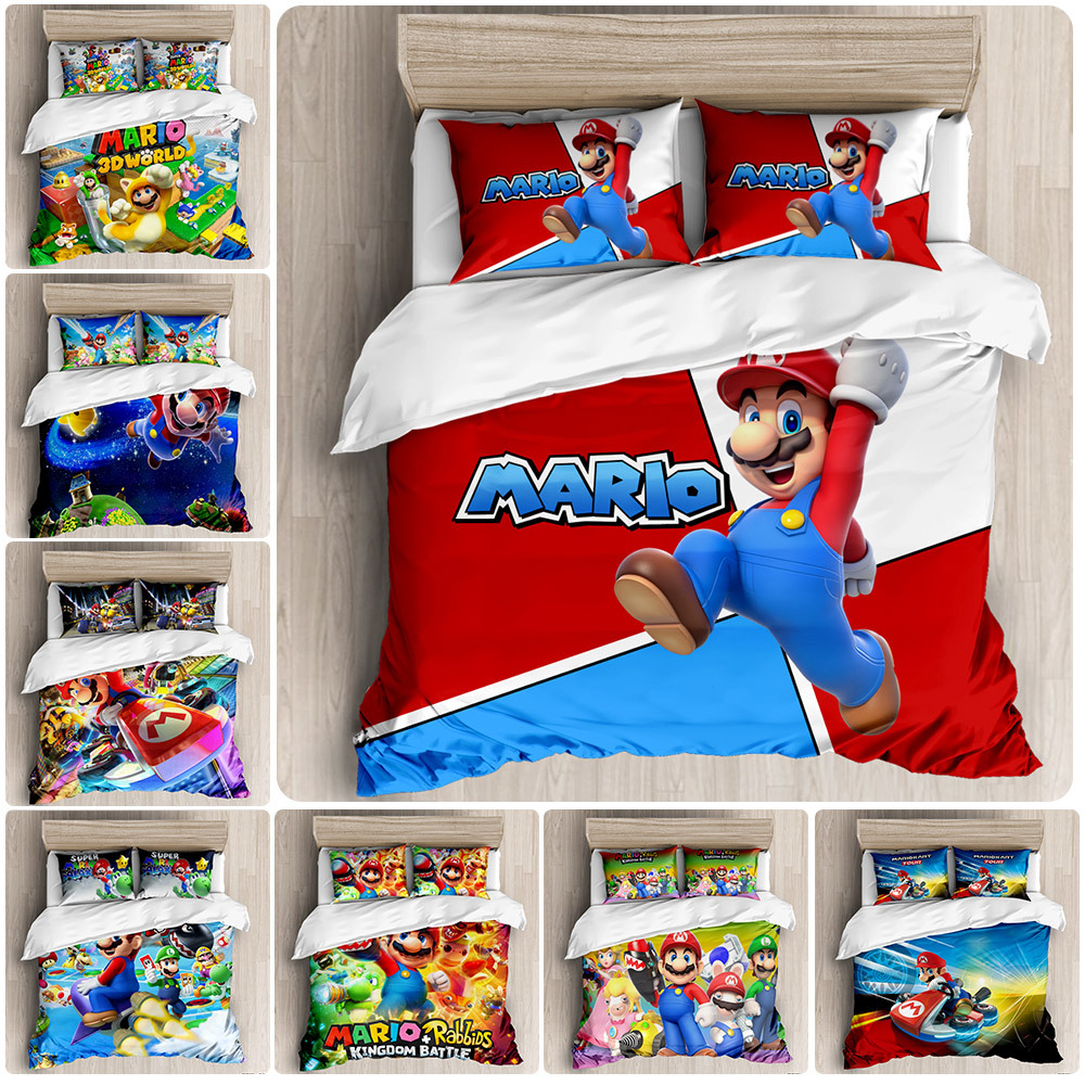 Super Mario Mario Customizable Three-piece Set 3D Digital Print Four-piece Set Foreign Trade Beddings Quilt Cover