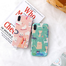 jamular Matte texture IMD soft shell phone case For 7 Plus 8 X XR 6 6s XS MAX Dog small cat pattern back cover