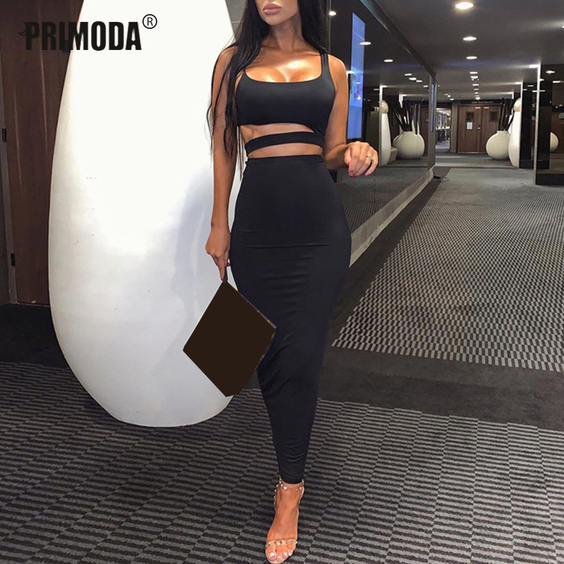 Autumn New Women Sets Sexy Sleeveless Crop Tops Long Midi Skirts Elastic Waist Solid Club Neon Suit Hollow 2 Piece Sets PR024G