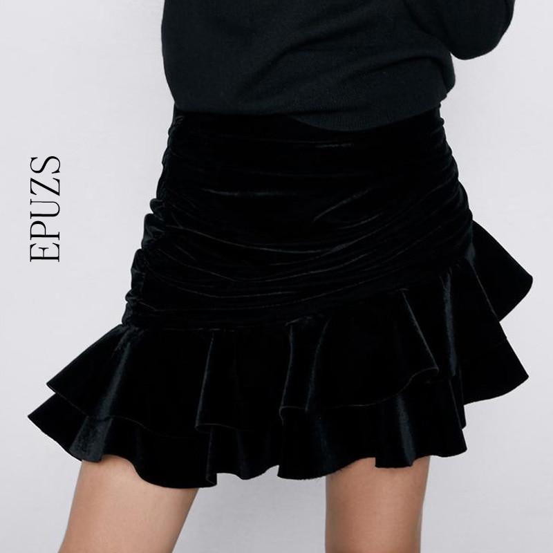 Sexy Ruffle Velvet Skirts Women Fashion Draped High Waisted Skirt Women Elegant Party Asymmetrical Mini Skirts 2019