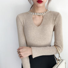 Осенний женский свитер 2020 Однотонный с высоким воротом тонкий