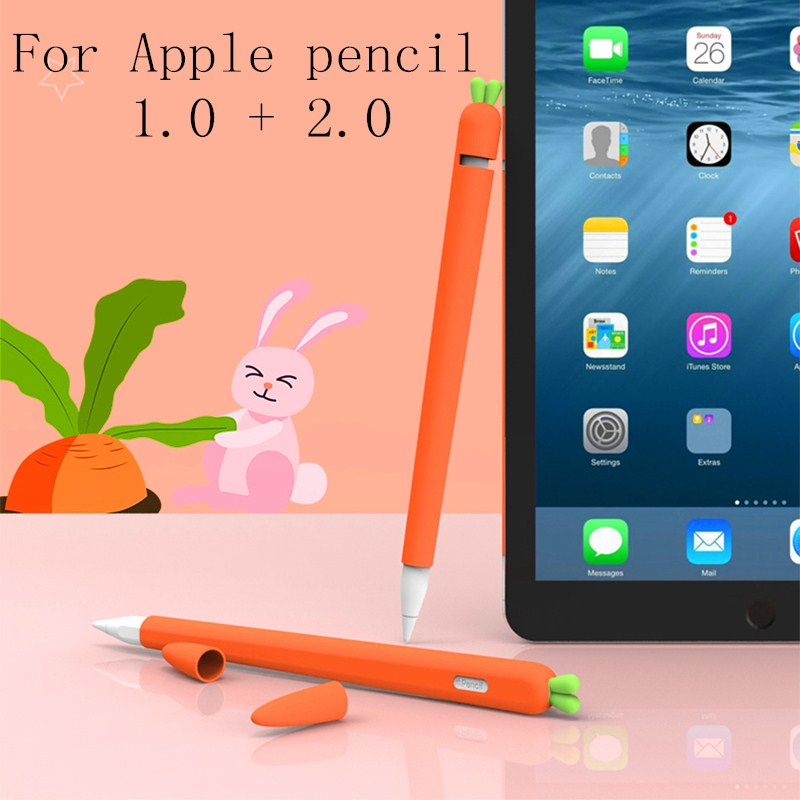 Cute Carrot Silicone Pencil Case For Apple Pencil 2/1 Case For IPad Tablet Touch Pen Stylus Cartoon Protective Sleeve Cover