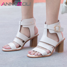 ANNYMOLI Sandals Women Real Leather High Heel Gladiator Shoes Buckle Square Heels Footwear Summer Sandals Female Beige Size 43 annymoli sandals women platform wedge high heels shoes round toe buckle high heel footwear ladies summer sandals female beige