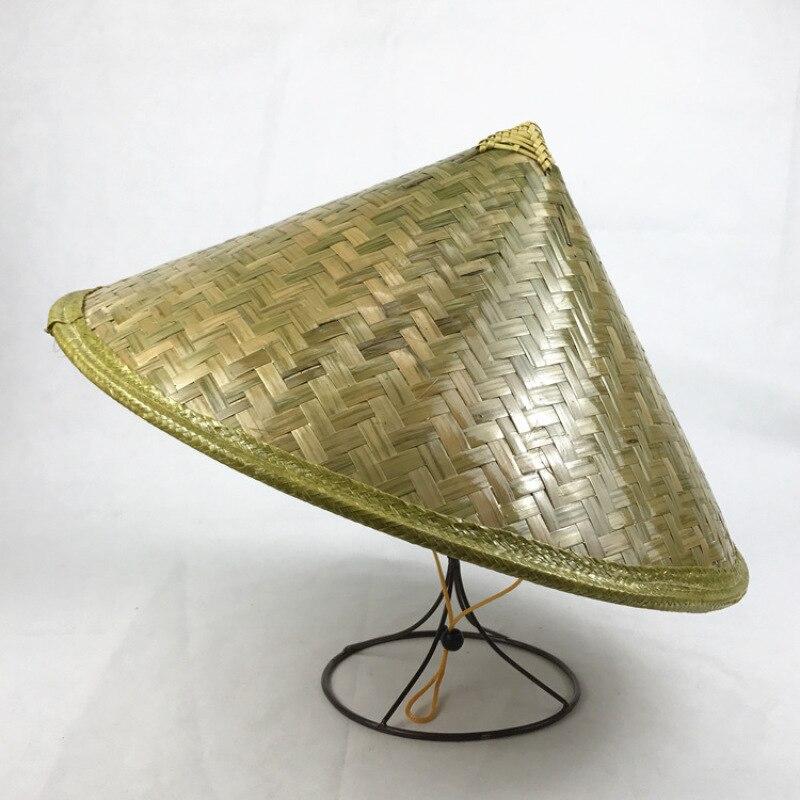 *43cm* Bamboo Weaving Rattan Hat Retro Handmade Weave Straw Hat Tourism Rain Cap Dance Props Cone Fishing Sunshade Fisherman Hat