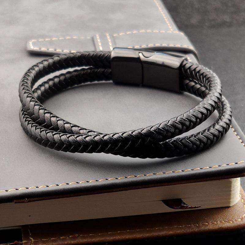 Bracelet en cuir tressé noir/marron/bleu/café, breloque Punk, nom personnalisé, gravé en acier inoxydable pour hommes et femmes, bijoux 3