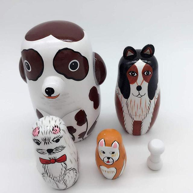 5Pcs/Set Hand Painted Dotted Dog Animal Nesting Dolls Matryoshka Puzzles Assembly Model Figurines Toys 1