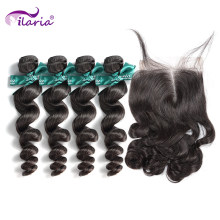 Ilaria Haar Nertsen Braziliaanse Losse Golf Virgin Hair 4 Bundels Met Sluiting 100% Human Hair Weave Bundels Met Kant Top sluiting(China)