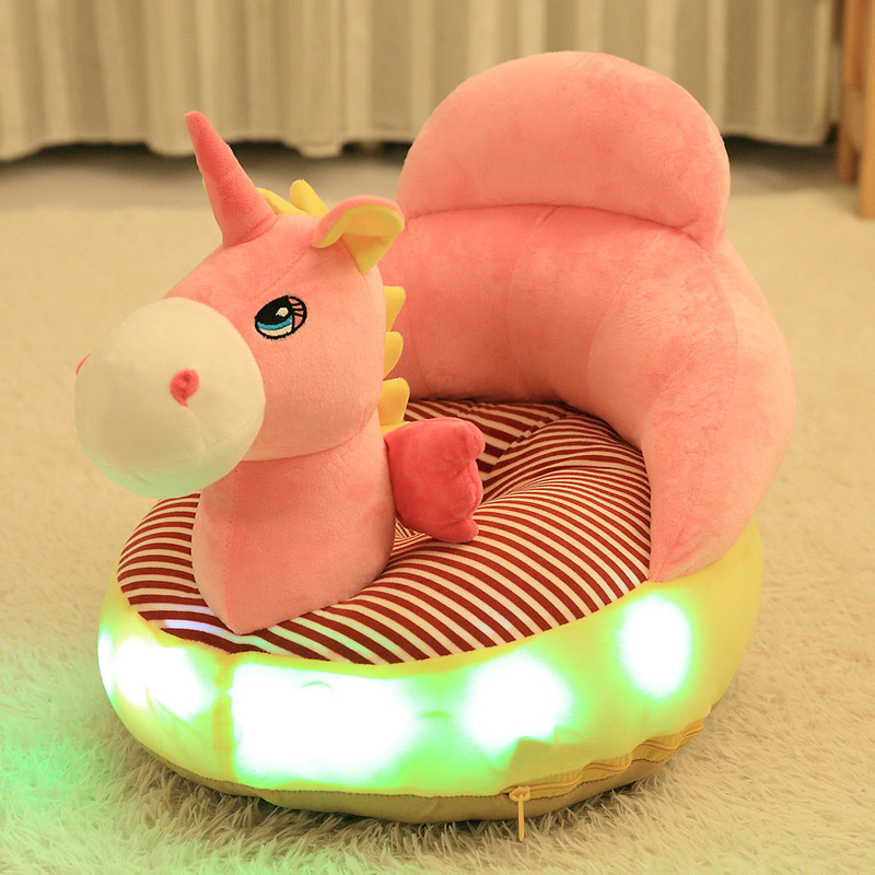 Baby Lighted Singing Sofa Cartoon Children LED Plush Supportive Chair Infant Shatter-resistant Back Learning Sitting Seat