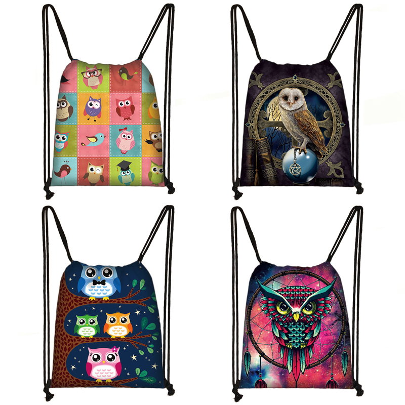 Cute Owl Print Drawstring Bag Women Canvas Storage Bag Female Fashion Travel Bags Children Backpack