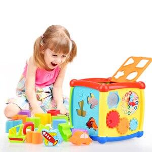 Image 4 - Çok fonksiyonlu müzikli oyuncak yürümeye başlayan bebek kutusu müzik piyano etkinlik küp geometrik blokları sıralama eğitici oyuncaklar 24 ay