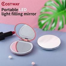 Costway 1 шт Портативный косметики мини зеркало светодиодный