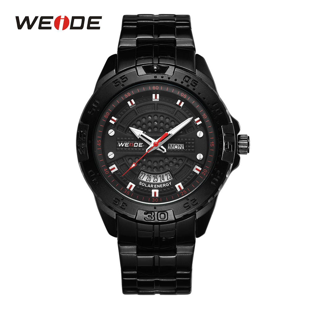 WEIDE Fashion Mens Sports Solar Energy Analog Week Display Water Resistant Stainless Steel Strap Black Dial WristWatches