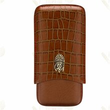 LUBINSKI 3 Tube Crocodile Embossed Real Leather Cigar Case Mini Cigar Humidor Case Travel Holder CE-005