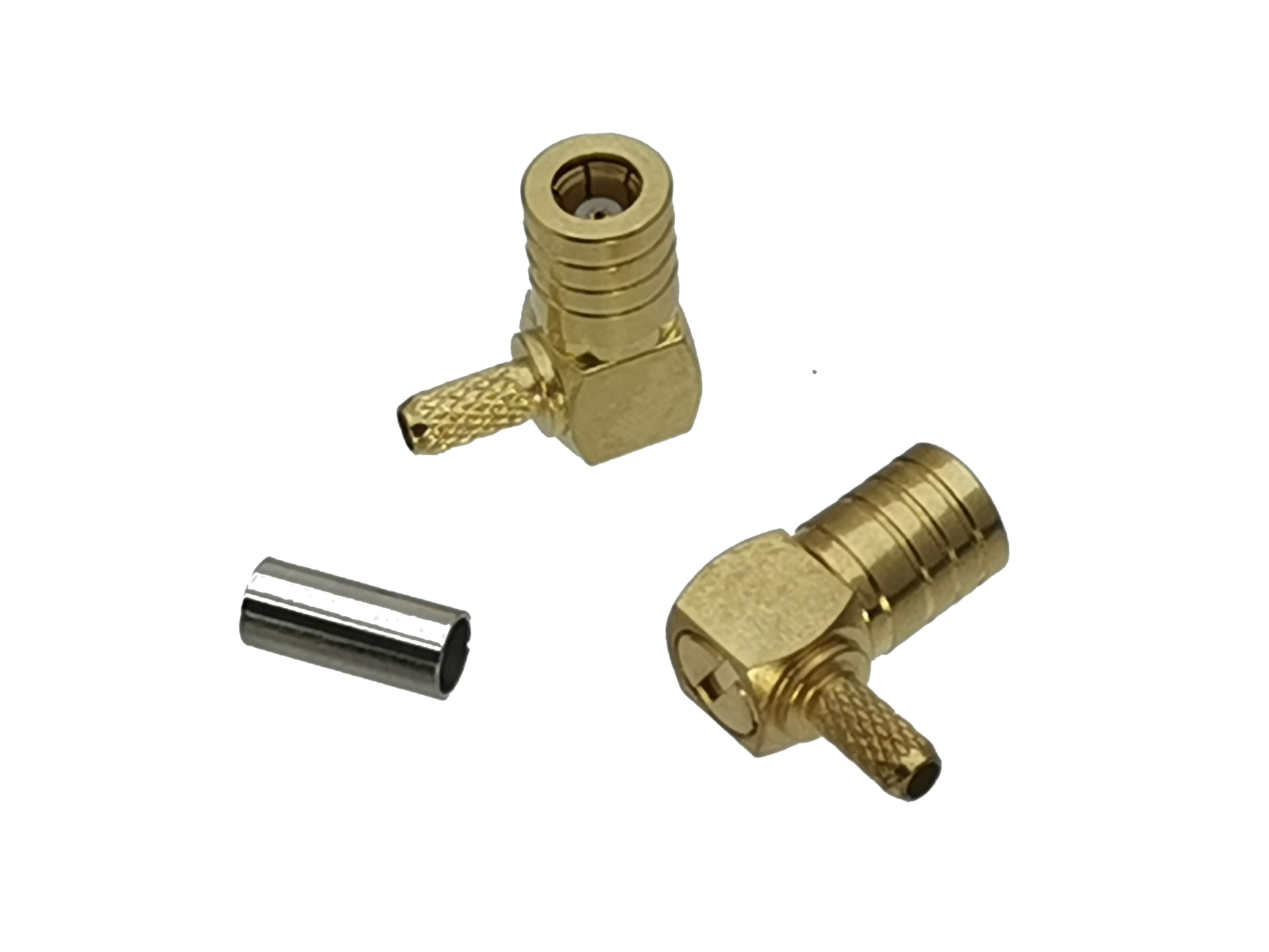 1pce Connector SMB Female Jack Right Angle Crimp RG174 RG316 LMR100 Cable