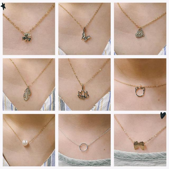 New Trendy Alloy Cute Elegant Sun Love Star Leaves Clover Unicorn Luck Pendant Necklaces for Women Fashion Accessories Jewelry 3