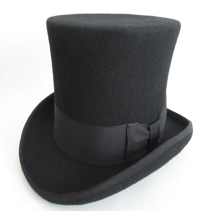 >WZCX <font><b>Wool</b></font> Bow Solid Color Perform Magician Hat Unisex Fashion New Personality Flat <font><b>Top</b></font> High Jazz <font><b>Cap</b></font> <font><b>Top</b></font> Hat