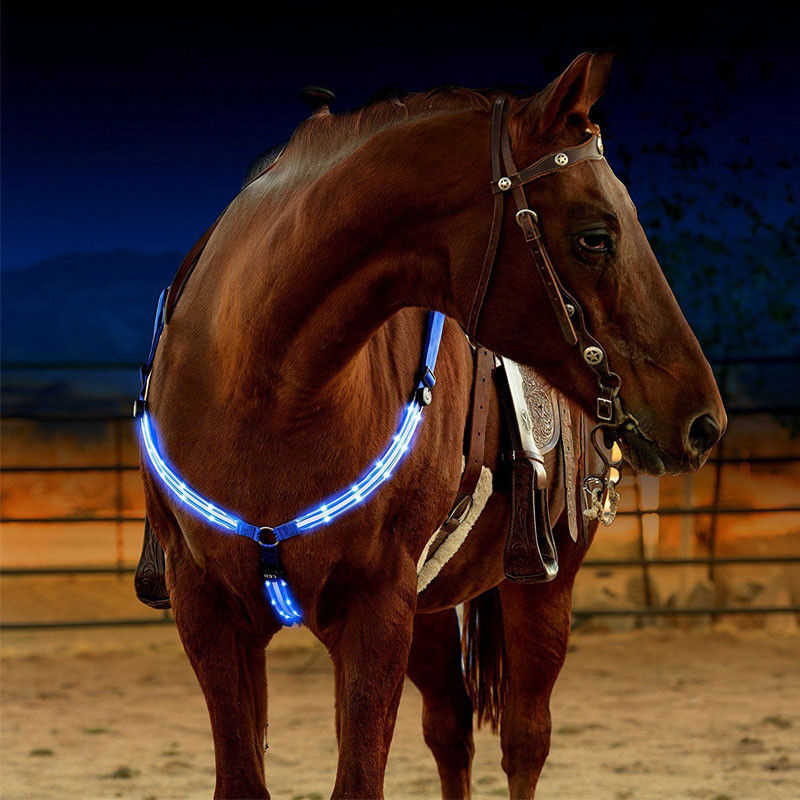 LED Horse Collar Bridle Halter Horse Riding Equestrian Safety Gear In Night Horse Breastplate Collar Lights Equestrian Supplies