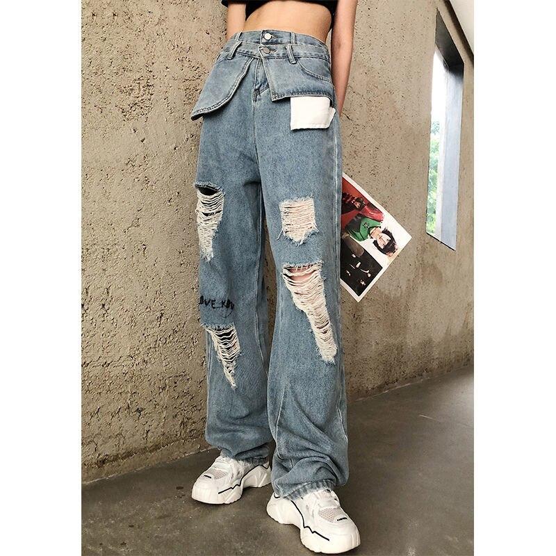Женские джинсы с высокой талией, рваные джинсы с имитацией двух частей, прямые брюки, уличная одежда, Новинка лета 2020|Прямые джинсы|   | АлиЭкспресс