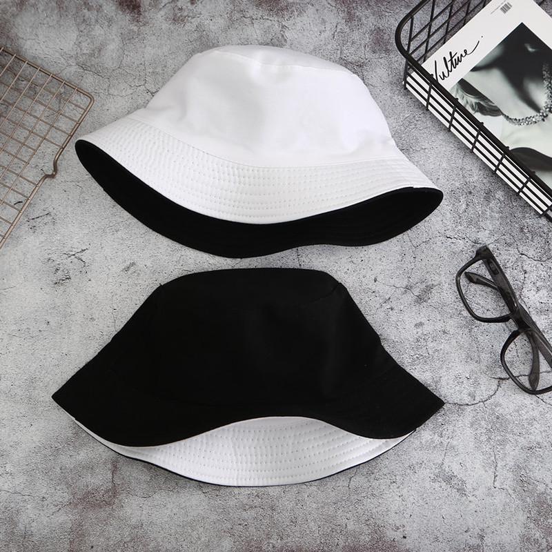 Double sided Wearing Cap Solid Color Bucket Hat Men Women Cotton Flat Sun Hat Reversible Fisherman Hat Winter Warm Bucket Cap