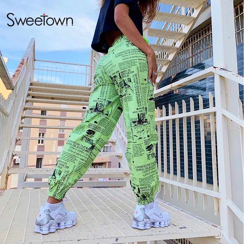 Sweetown Casual Print Ladies Streetwear Cargo Pants Women Hip Hop Baggy Trousers Fashion High Waisted Baggy Pants Autumn Outfits