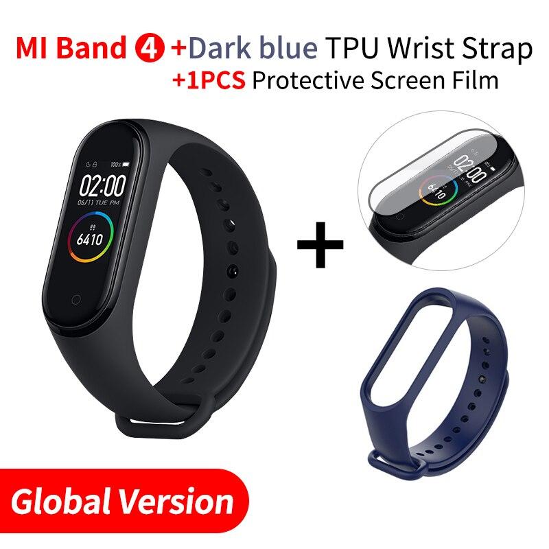 Xiaomi mi Band 4 Smart mi band 3 Цвета экран Браслет фитнес-трекер для измерения сердечного ритма Bluetooth 5,0 водонепроницаемый банда4 - Цвет: EN Add DarkB Strap