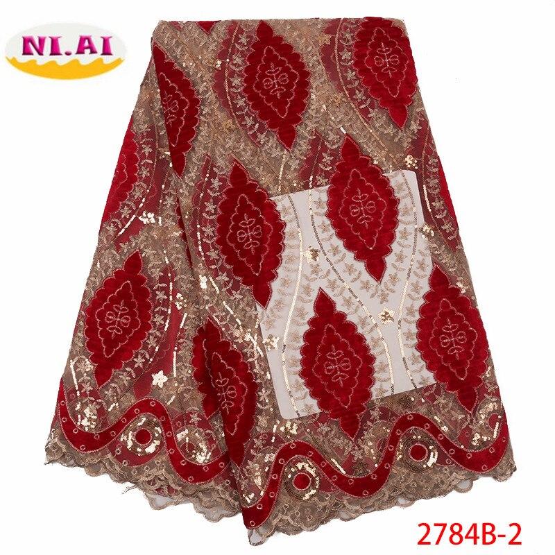 NIAI tela de encaje de terciopelo nigeriano 2019 tela de encaje africano de alta calidad con tela de encaje francés de lentejuelas para vestido XY2784B 1-in encaje from Hogar y Mascotas    3
