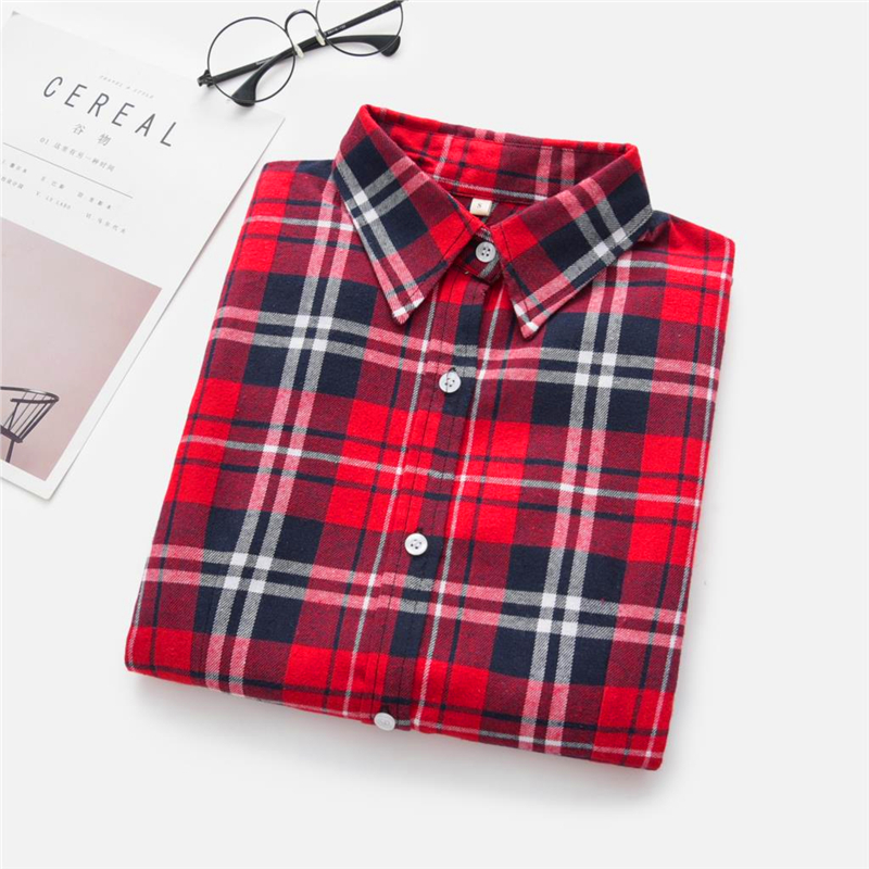 2020 New Women Blouses Brand New Excellent Quality Cotton 32style Plaid Shirt Women Casual Long Sleeve Shirt Tops Lady Clothes 27