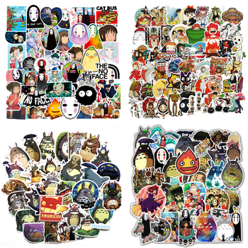 50 sztuk Anime Miyazaki Hayao Kawaii Totoro naklejki ruchome zamek Spirited Away Cartoon naklejki na laptopa bagaż dzieci zabawki F4 tanie i dobre opinie SIKOMOLE CN (pochodzenie) About 7 cm about 0 045kg SZ-SL-BZ None Children Gift New style Decorate Sun protection and Waterproof